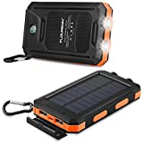 FLOUREON 10,000mAh Power Bank Portable Phone Solar Charger Dual LED Flashlight External Battery Charger with 2-USB Output for Smart Phone,Tablet and More(Orange)