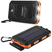 FLOUREON 10,000mAh Solar Charger Power Bank Portable Phone Solar Charger Dual LED Flashlight External Battery Charger with 2-USB Output for Smart Phone,Tablet and More(Orange)