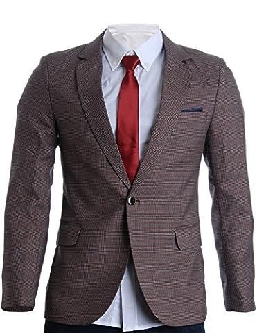 FLATSEVEN Mens Slim Fit Micro Check Premium Blazer Jacket (BJ272), M