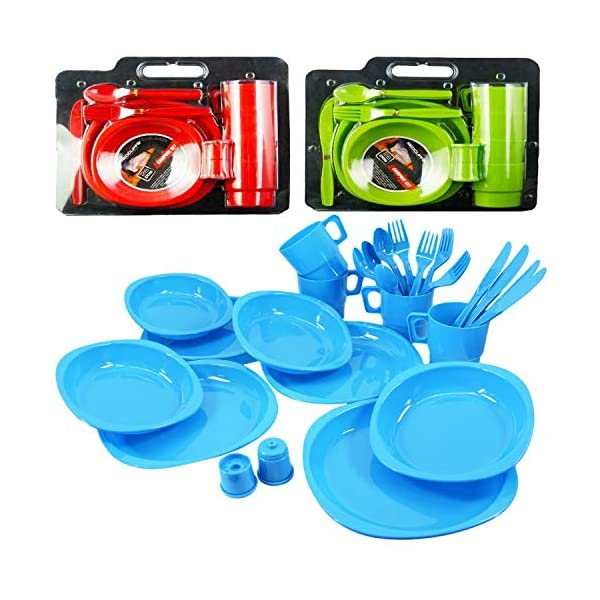 Large Plastic Picnic Camping Party Dinner Plate Mug Cutlery Set, 4 Person 1