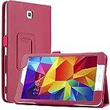 Bestwe Hot Pink Flip Ledertasche Smart Case Cover Schutzhülle hüllen für Samsung Galaxy Tab 4 8.0 (8 Zoll) mit automatischer Schlaf/Wach auf Funktion