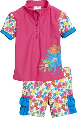 Playshoes Mädchen Tankini 2 Tlg. Bade-Set Blumenmeer mit UV-Schutz, Mehrfarbig (Pink 18), 122 (Herstellergröße: 122/128)
