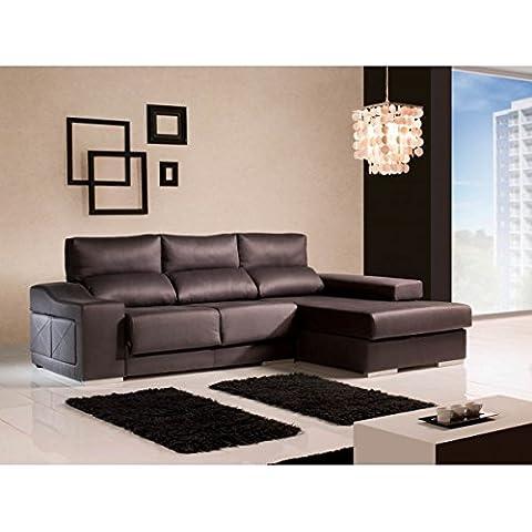 Sofá con chaise longue derecha con puff en brazo reclinables