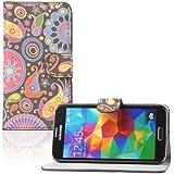 tinxi® PU Ledertasche für Samsung Galaxy S5 Schutzhülle Flipcase Schale Cover Etui Skin Standfunktion mit Karten Slot Quall Muster