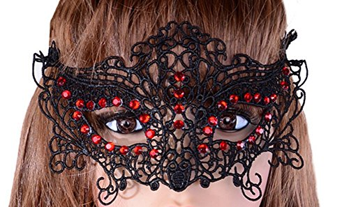 iTemer Lady Girl Lace Eye Mask Sexy Masquerade Face Mask for Venetian Carnival Masquerade proms Night club Halloween Party Christmas  Easter 1pc