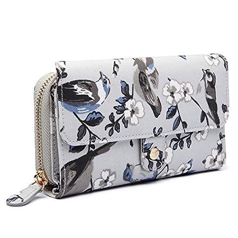 Miss Lulu Ladies Grey Bird Flower Oilcloth Fashion Wallet Purse for Women Girls