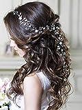 Unicra argento matrimonio fiore di cristallo capelli vite copricapo da sposa fasce accessori per capelli da sposa per le spose (oro) (argento)