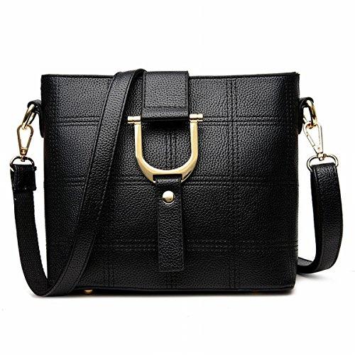 Damen-Mode-Eimer Tasche Beliebte Stickerei Linie Box Portable Schulter Messenger Bag Schwarz