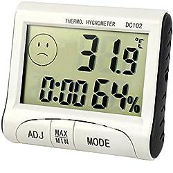 Szaerfa Compteur d'humidité numérique LCD Thermomètre chaud intérieur Hygromètre Horloge Température