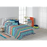 Colcha Bouti de Verano. Diseño estampado. Incluye fundas de Cojines - Edredones y colchas de cama Mod.Monday (Cama de 105cm)