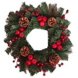 HENGMEI 50cm Ghirlanda di Natale Natalizia Decorativa Corona di Natale Festa Natalizia Decorazione per Festa a casa (C,con pigne e Mele)