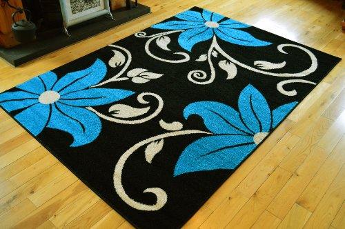 NEW BLACK BLUE CREAM FLOWERS SMALL MEDIUM EXTRA LARGE RUGS LIVING ROOM MATS HALL RUNNER CARPETS **(5 SIZES AVAILABLE FROM DROP DOWN BOX)** (190 X 280 CMS)