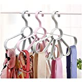 CONNECTWIDE Wind Circle Flower Shaped Multi-function ABS Plastic Scarf Belt Hanger with 5 Holes (Pink)