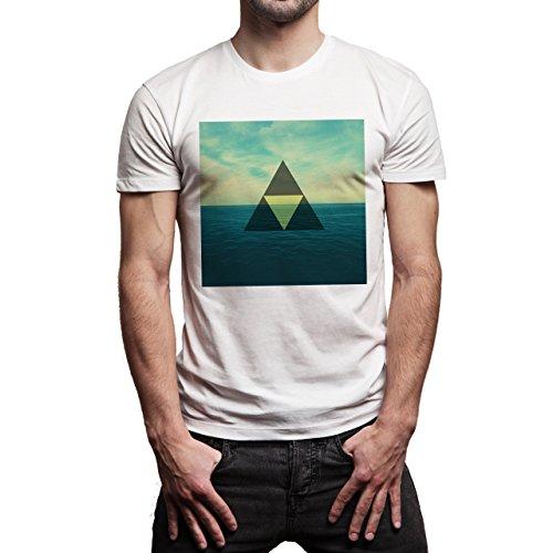 Illuminati Triangle Art Majestic Ocean Square Background Herren T-Shirt Weiß