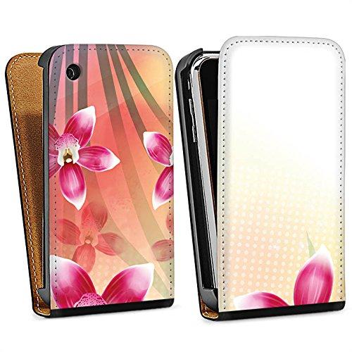 Apple iPhone 4 Housse Étui Silicone Coque Protection Orchidée Papillon Fleur Sac Downflip noir
