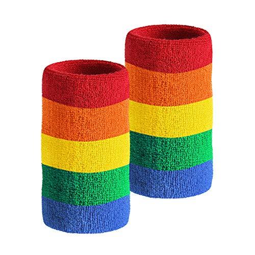 HOTER, Schweißband, 15,2cm lang, dick, für Tennis und andere Sportarten, Rainbow(2Piece)
