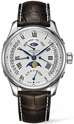 Longines Master Collection Retrograde Moonphase Automatic Steel Mens Strap Watch L2.739.4.71.3