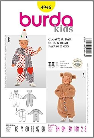 Burda B4946 Patron de Couture Clown et Ours 19 x 13 cm