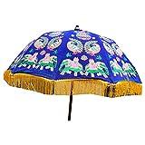 indischerbasar.de Sonnenschirm 115cm dunkelblau Elefant Pfau Stickereien Baumwolle Accessoire