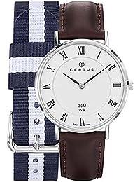 Certus–Reloj Mixta–611004–Caja plateado–pulsera piel marrón–Reloj color blanco–números romanos