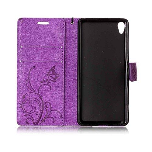 Hülle für Sony Xperia XA, Tasche für Sony Xperia XA, Case Cover für Sony Xperia XA, ISAKEN Blume Schmetterling Muster Folio PU Leder Flip Cover Brieftasche Geldbörse Wallet Case Ledertasche Handyhülle Schmetterling Blume Violett
