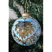 boule prénom transparente en verre,tradition Alsace,bleue,8cm