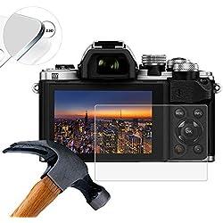 Lusee 2 x Pack (Couverture complète) Verre Trempé de Caméra la D'écran Protecteur pour Olympus EM10 / Om-D EM-1/ II/III/E-P5 / E-PL7 / E-PL8 RÉSISTANT Indice Dureté 9H 2.5D 0.3mm Haute