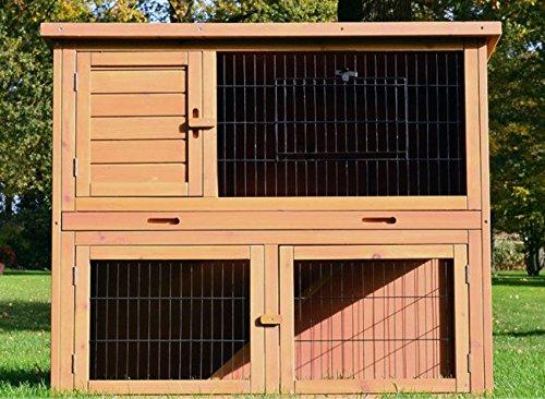 Zooprimus Conigliera in legno luminosissima a 2 livelli 3 porte più un' ulteriore apertura Griglia metallica di protezione Tetto apribile Grande cassetto estraibile per lo sterco Conigliera 003 Felice