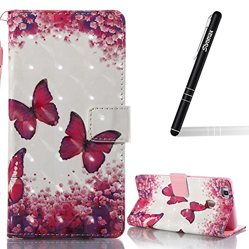 Slynmax Hülle Kompatibel mit Huawei P9 Lite,Huawei P9 Lite Handyhülle Silikon,Leder Flip Wallet Leder Tasche Case Slim Soft Silikon HandyHülle für Huawei P9 Lite,Rosen Rot Schmetterling -
