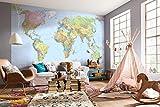 Komar - Vlies Fototapete WORLD MAP - 368 x 248 cm - Tapete, Wand, Dekoration, Wandbelag, Wandbild, Wanddeko, Weltkarte, Landkarte, Planet - XXL4-038