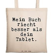 """Mr. & Mrs. Panda Tragetasche mit Spruch """"Mein Buch riecht besser als dein Tablet."""" - 100% handmade aus Baumwolle - Tragetasche, Tasche, Beutel, Jutetasche, Bag, Jutebeutel, Einkaufstasche, Motiv, Spruch, bedruckt, Druck Bücherwurm, Leseratte, Lesen, Buch, Bücher, Spruch, Spruch Sprüche Lustig Spass Geschenk Geschenkidee Zitate"""