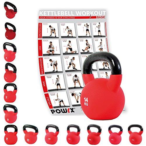 POWRX - Kettlebell ghisa 4 - 30 kg - Rivestimento in neoprene & PDF workout (14 kg)