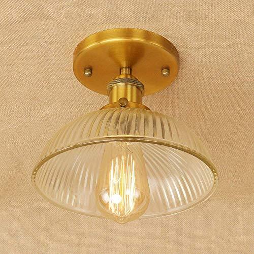 ♪ Deckenbeleuchtung Retro Industrie Design Deckenleuchte Runde Glasschirm Metall Deckenlampe Innen Decke Dekoration Leuchte Gang Flur Diele Korridor Lampe E27 LED Edison Beleuchtung 1 licht,Messing ♪ -