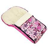 Rawstyle Winterfußsack 90cm aus LAMMWOLLE für Schlitten, Kinderwagenschale, Kinderwagen, Buggys und Schlitten Fußsack Wolle (Pink + Pinke Blumen)