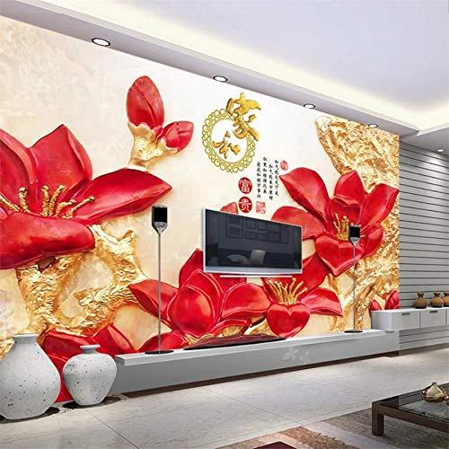 Lxsart Benutzerdefinierte Tapete 3D-Wandbild High-Definition-Blumen reichen reichen Relief Wandbild Wohnzimmer TV Wandgestaltung-200cmx140cm Touch High-definition-stereo