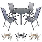 Miweba Moreno 4+1 Aluminium Sitzgarnitur 90x90 Alu Gartenmöbel 4 Stühle Sitzgruppe Tisch Gartenset Gartengarnitur in Verschiedenen Farben und Ausführungen (Farbe: Grau - Ausführung: Classic)