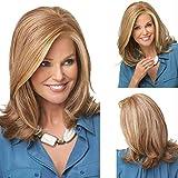 Auriculares con peluca de fibra química micro-enrollados de pelo largo para mujer