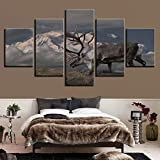 mmwin Lienzo Arte de la Pared Imágenes Decoración para el hogar Habitación Cartel 5 Unidades Snow Mountain Elk Cloudlet Paisaje HD Impreso Abstracto