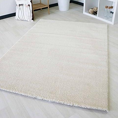 Kurzflor Teppich Creme Wohnzimmer Jugendzimmer einfarbig Soma Designer Weiß Modern