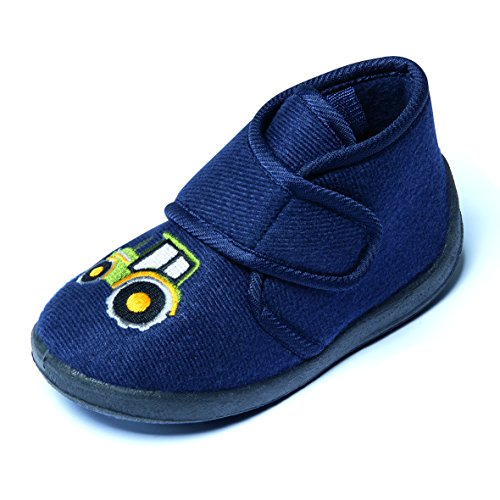 Kinder Hausschuhe Kinderschuhe Kleinkinder Jungen Mädchen Schuhe Softschuhe Klettschuhe Kletter Klettverschluss Navy Blau Trecker Traktor Gr. 22-26 (24)