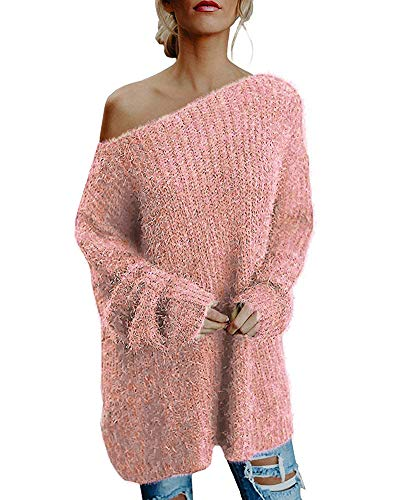 Minetom Femme Oversize Pull Tops Sans Bretelles Manches Longues Casual Pull Robe Long Souple Chaud Sweater Tricotés Tops Rose FR 40
