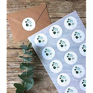 Eukalyptus Sticker A4 Bogen, 15 Stk. ca.5 cm Durchmesser, grüne Blätter Aufkleber, selbstklebende runde Etiketten mit Eukalyptus-Zweig, rustikale Hochzeit
