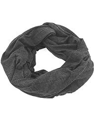 NB24 Damen Loop Schal (a104), Schlauchschal, Endlosschal, Sommerschal, schwarz dunkelgrau meliert Damenbekleidung, Herrenbekleidung Herrenschal
