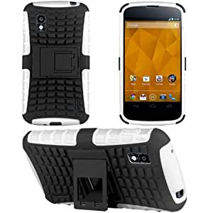 HHI Dual Armor Composite Case with Stand for LG Google Nexus 4 - White (Package include a HandHelditems Sketch Stylus Pen)