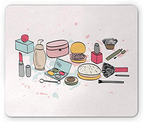 Makeup Mouse Pad, Cosmetics Fashion Lipstick Mascara Perfume Pattern Girly Feminine Sketch Design,...