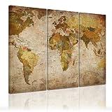 Kunstdruck - Weltkarte retro - Bild auf Leinwand - 120x80cm - 3teilig - Leinwandbilder - Urban & Graphic - Landkarte im Vintage-Stil
