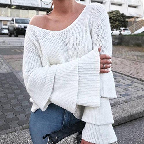 Vovotrade❉❉ Femmes Tricot Pull Haut Jersey Tricotées Tops Manches Longue Blanc