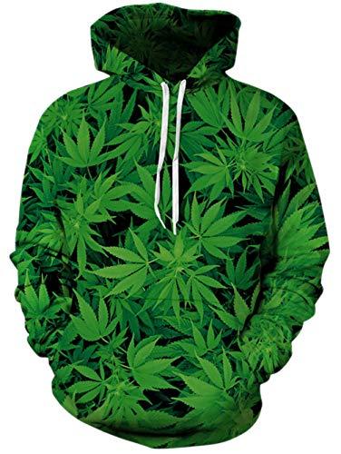 Spreadhoodie 3D Pullover Hoodie Herren Damen Weed Graphic Print Hoody Langarm Atmungsaktive Pullover Sweatshirt für Gym Sport Grün XXL (Weed Hoody)