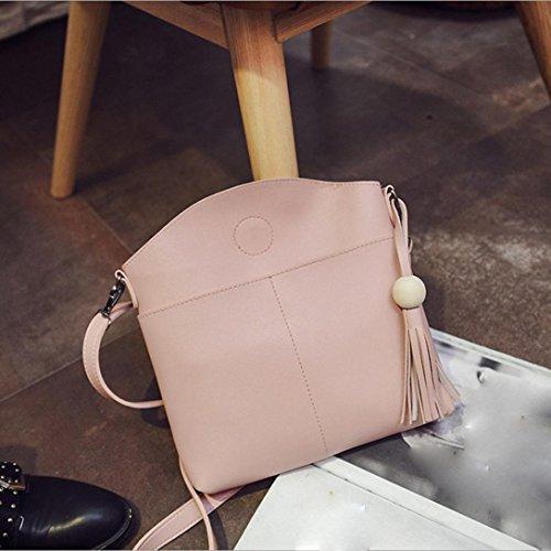 Igemy Tassel Frauen Tasche Leder Handtaschen Kreuz Körper Schultertaschen Messenger Handtasche Pink