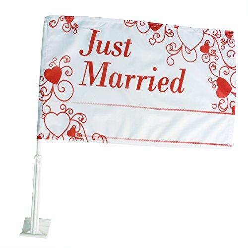 Weddix Autoflagge Hochzeit, rot mit Herzen, Just Married Schriftzug - Fahne für die Autodeko, personalisierbar mit Namen